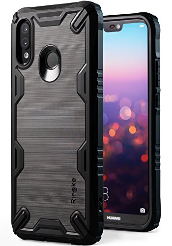 (Huawei P20 Lite Case, Ringke [Onyx-X] Impact Resistant Rugged TPU Grip [Heavy Duty Protection] Flexible Reinforced Corner Shock Absorbent Combatant Stroked Line Anti Slip for P 20 Lite (2018) - Black)