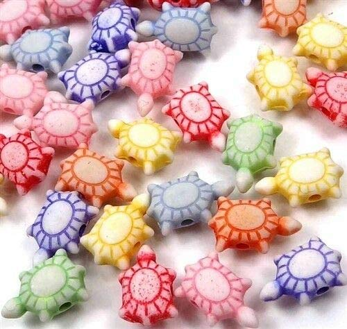 (100 Beads) 12mm Mixed Color Lovely Little Turtle Tortoise Acrylic Beads Spacer - Charm Land Small Turtle