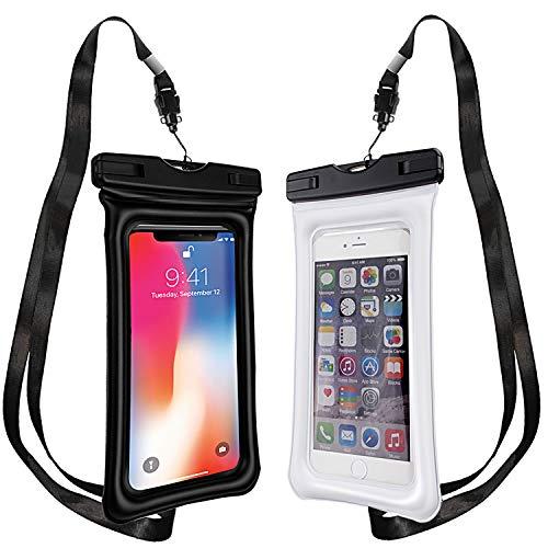 (PEADOO Waterproof Phone Case Floating, [2 Pack] Universal IPX8 Waterproof,Underwater Cell Phone Pouch for iPhone X/8/8P/7/7P, Samsung Galaxy S9/S9P/S8/S8P/Note 8, up to 6.0