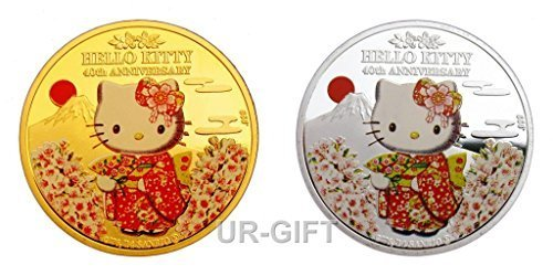 2 Pieces Hello Kitty Japanese Cartoon Colored 24k Gold and Silver Plated Collectible Commemorative Coins