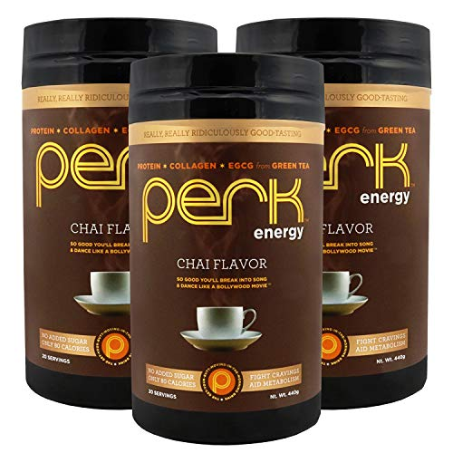 Perk Energy - Chai Flavored Beverage Mix with Zero added Sugar - Provides a Boost in Energy and is Packed with Protein, Collagen, and EGCG from Green Tea. 3 Pack.