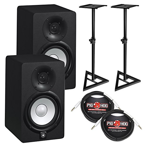 Yamaha HS5 Powered Studio Monitor Bundle with Two Monitors, Stands, and Cables