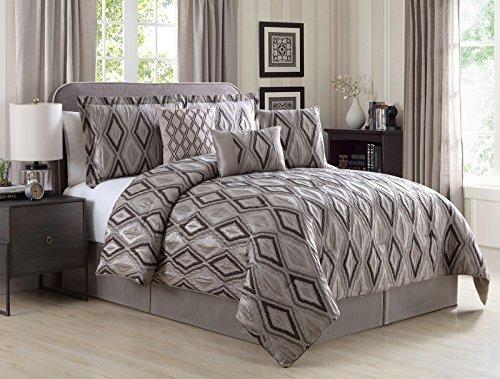 (Zleep Bed 7-Piece Multi-tone Gray Jacquard Geometric Diamonds Comforter Set, Queen)