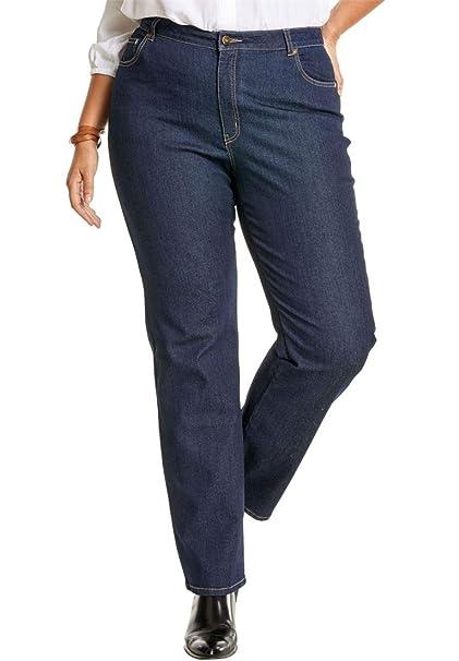 1186797b168e2 Woman Within Plus Size Tall Wide Leg Stretch Jean at Amazon Women s ...