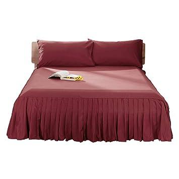 28x73inch +55cm SHEETS/&BED Pieghe Lenzuolo con Angoli Lenzuolo sopra Bellezza Copertura di Base Gonna del Letto Hotel Ipoallergenico Tinta Unita Lenzuolo Piano 1 pz-Red Rose W70xH185cm