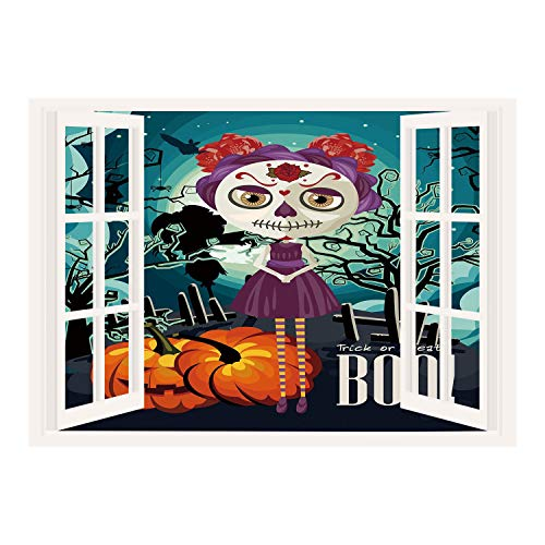 SCOCICI Creative Window View Home Decor/Wall Décor-Halloween,Cartoon Girl with Sugar Skull Makeup Retro Seasonal Artwork Swirled Trees Boo Decorative,Multicolor/Wall Sticker -