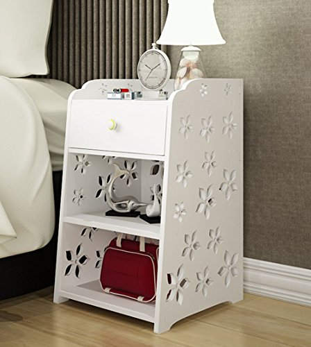 Superior Mybestfurn Small Size Slim Engraving White Nightstand Bedside Drawer Table  Bathroom Storage Cabinet Dampproof Corner Table 12X12X20u0027 White 253C