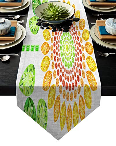 Double Love Triangle Table Runners for Party/Wedding, Sunflower Clipart Cotton Linen Coverings Desk Flags for Dining Room/Kitchen, 13 x 90 inches