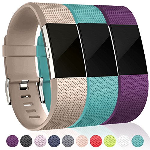 Maledan Bands for Fitbit Charge 2, Champagne Teal Plum, Small