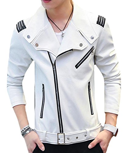 White Lightweight Belted Jacket - Pandapang Mens Zip Up Slim Lapel Belted Faux Leather Moto Biker Jacket Coat White M