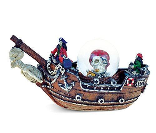 COTA Global Nautical Island Pirate Ship Figure Intricate Art Resin Sculpture Pirates Theme Décor Handcrafted Hand Painted Tabletop Figurine Snow Globe Decoration Home Accent Unique Gift Souvenir