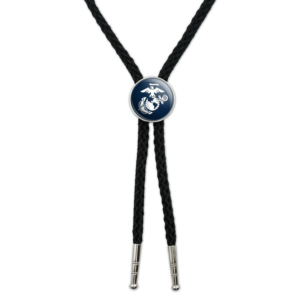 Marine Corps USMC White Eagle Globe Anchor on Blue Officially Licensed Western Southwest Cowboy Necktie Bow Bolo Tie