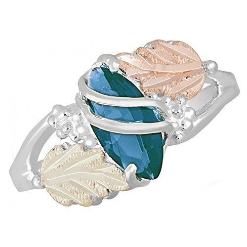 Created Blue Zircon Marquise December Birthstone Ring, Sterling Silver, 12k Green and Rose Gold Black Hills Gold Motif 7 -