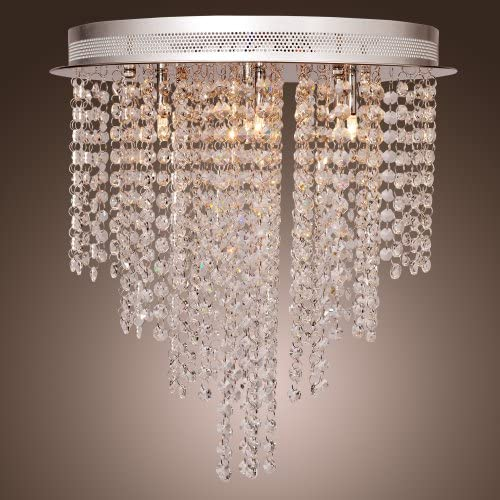 Lightinthebox Luxury Crystal Droplet Ceiling Flushmount Chandelier with 6 Lights Round Design Flush Mount, Pendant Light Chandeliers