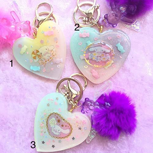 #1- Cinnamoroll Pastel Kawaii Heart Glitter Rainbow Candy Pink Pompom Keychains/Keyrings/ Bag Charms Accessories -