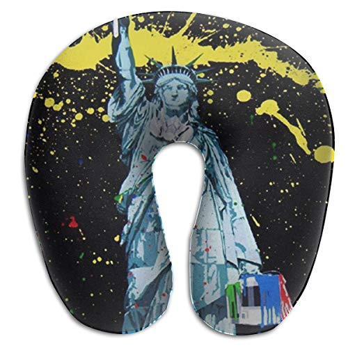 BRECKSUCH Splash Ink-Painting Statue Liberty Print U Shaped Pillow Memory Foam Neck Pillow for Travel and Relief Neck Pain Fashion Super Soft Cervical Pillows with Resilient Material Relex Pollow