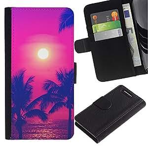 LASTONE PHONE CASE / Lujo Billetera de Cuero Caso del tirón Titular de la tarjeta Flip Carcasa Funda para Sony Xperia Z1 Compact D5503 / Sun Hot Summer Sea Purple