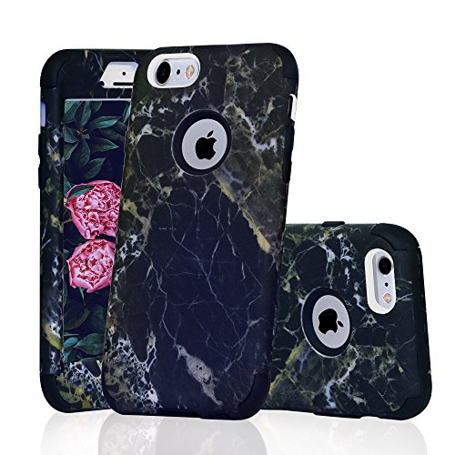 iPhone 6/6S Case, Asstar 3 In 1 Marble Creative Design Soft Silicone Hard PC Shockproof Anti-Scratch Protective Cover Case for Apple iPhone 6/6s 4.7 inch (Black Marble)