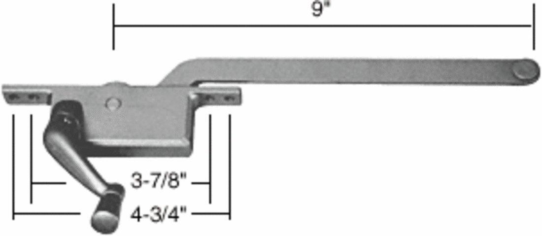 C.R. LAURENCE 5259LHAL CRL Aluminum 9'' Left Hand Square Series Casement Window Operator