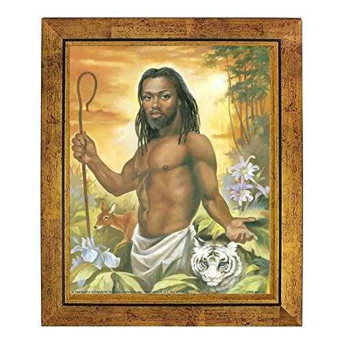 African American Jesus: The Good Shepherd by Vincent Barzoni (10x8 inches - Framed Art Print - Gold Frame) (Barzoni Print)