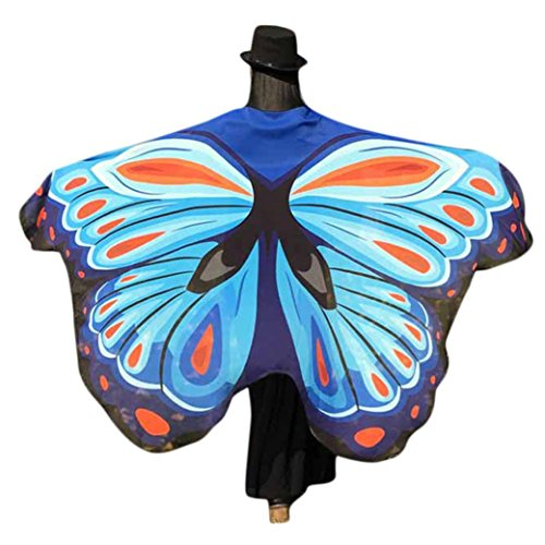 VESNIBA Soft Fabric Butterfly Wings Shawl Fairy Ladies Nymph Pixie Costume Accessory (197125CM, Sky (Halloween Costumes Wood Nymph)