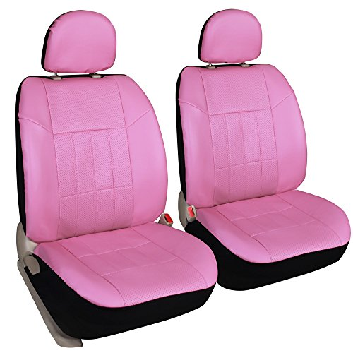 Leader Accessories 2pcs Pink Seat Covers Leather Front Protector for Car - Universal Fit