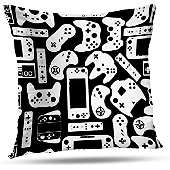 Decorativepillows 18 x 18 inch Throw Pillow Covers,Video Games Controller Pad Gamers Pattern Double-Sided Decorative Home Decor Indoor/Outdoor Garden Sofa Bedroom Car Kitchen Nice Gift