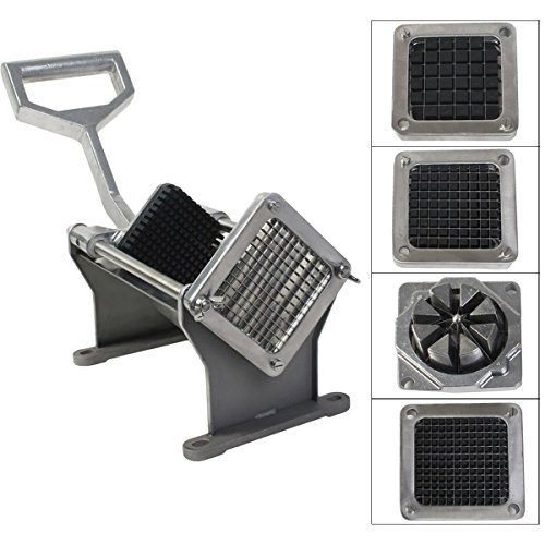 New 1/4 Sharp Chip - Commercial Potato French Fry Fruit Vegetable Cutter Slicer Cutting w/ 4 Blades