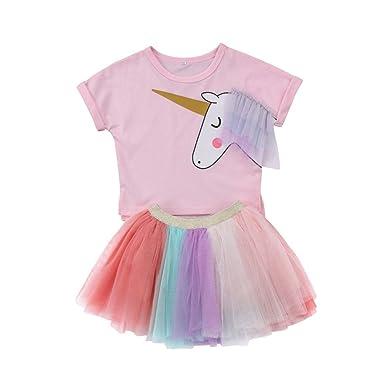 32dd7c385687 yannzi Baby Girl Unicorn T-Shirt & Colorful Lace Tutu Skirt Set Pink,Toddler