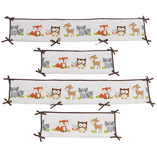 Bedtime Originals Friendly Forest Woodland, 4 Piece Crib Bumper, Green/Brown
