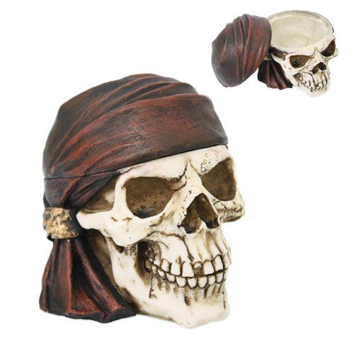Buccaneer Pirate Skull Jewelry Box Collectible Figurine