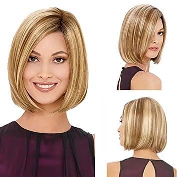 wig Pelucas de Pelo Corto y Recto para Mujer Boda de Oro para Mujer Cabeza Corta