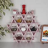 LaModaHome Cardboard Shelf 100% Corrugated Cardboard (20.5'' x 18.9'' x 2.8'') Pink Triangle Hexagon Kitchen Decorative Design Storage Shelf Multi Purpose