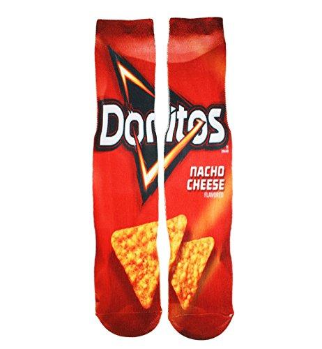 Mens Funny Crazy Color Doritos Athletic Basketball Sports Crew Tube Sock (Medium, Doritos-nacho cheese)