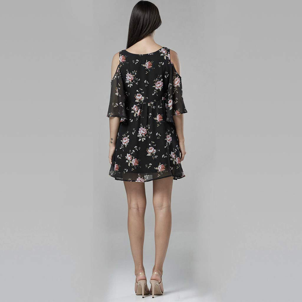 chuxin Huang❤️ Womens Dresses Summer Casual V-Neck Floral Print Cold Shoulders Geometric Tie Front Dress Black by chuxin huang_Maternity Dress (Image #3)