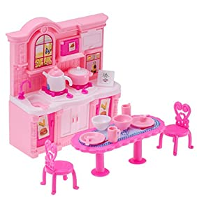 26Pcs Doll Kitchen Accessories Dining Table Chairs Dinnerware Cabinet Doll Accessories Tableware Mini Furnitures for Barbie Doll