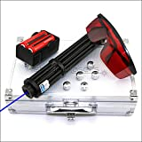 Shadowlasers BX3-II High Power Blue Presentation Pointers Visible Lazer Beam Torch Flashlight & 2x18650 Li Batteries & US Charger & 5 Star Caps & Safety Glasses & Aluminum Case