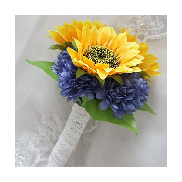 Lily Garden Arrangement Silk Chrysanthemum Sunflower Bouquet (Orange and Blue Purple)