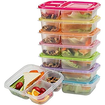 Bento Lunch Boxes, 3-Compartment Meal Prep Containers with Lids, Food Storage Containers, 7 Pack BPA Free Food Lunch box, LeakProof, Reusable, Stackable, Microwave, Freezer and Dishwasher Safe