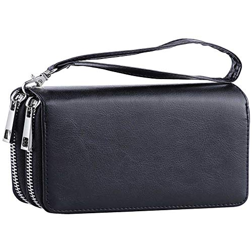 - Womens Double Zipper Around Long Clutch Wallet Credit Card Holder Purse with Coin Pocket for Cash, Coin, and 5.5 inch Cellphone (FMW Black with Wristlet Strap)