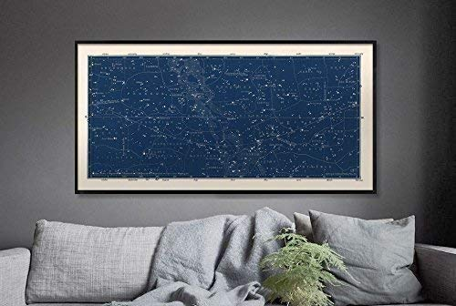 Large Horizontal Blue Constellations Map and Star Chart, Star Map