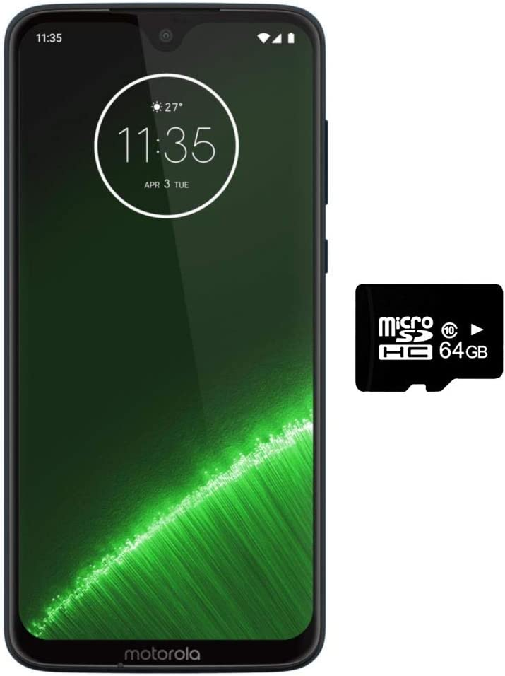 "Motorola Moto G7+ Plus (64GB + 64GB SD Bundle) NFC, Dual SIM 6.2"" 4G LTE (GSM Only) Factory Unlocked - US & Global 4G LTE International Model XT1965-2 (Deep Indigo)"