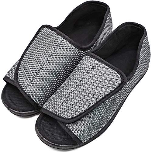 (MEJORMEN Men's Diabetic Footwear Swollen Feet Slippers Adjustable Orthopedic Wide Shoes Open Toe for Diabetic & Edema Elderly Men (10, Adjustable -)