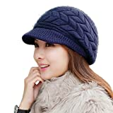 HINDAWI Womens Winter Hat Warm Knit Wool Ski Snow Caps with Visor Navy