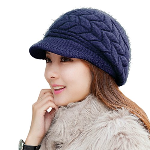 Knit Hat Womens Navy - HINDAWI Womens Winter Hat Warm Knit Wool Ski Snow Caps with Visor Navy