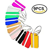 Luggage Tags 9Pack Aluminum Luggage Tag With Name ID Card Perfect to Quickly Spot Luggage Suitcase …