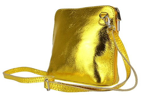 Bright Body Gold Girly Genuine Shoulder HandBags Bag Cross Metallic Leather CwqTPxwX8