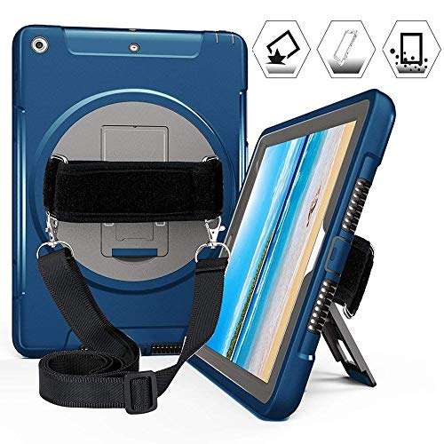 iPad 2017 9.7 Inch Case, Heavy Duty Triple Layer Rugged Shockproof Protective Case with 360 Degree Swivel Kickstand Hand Strap Shoulder Strap for iPad 5th Generation 2017 9.7, Model A1822/A1823, Blue