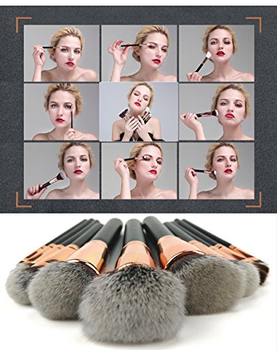 Makeup Brushes, Professional Travel Rose Gold Makeup Brush Set 11Pcs with Makeup Bag Organizer Crocodile Skin