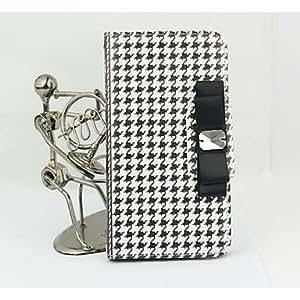 Al más puro estilo de a través de teléfono móvil con tapas de piel sintética tipo libro con tarjetero para/Samsung la galaxia S3 S4/S5/S6 varios colores de la, piel sintética, negro/blanco, Galaxy S5